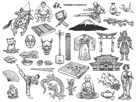 Illustration pour Japan historical culture traditional icons. Vector sketch sushi, geisha kimono or tea ceremony and ikebana, Japanese samurai or Go and Shogi, koto and shamisen, Fuji mount or sakura, sumo and bonsai - image libre de droit