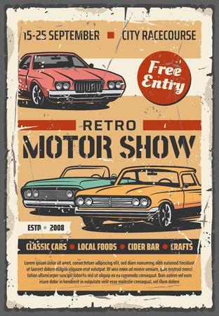 Ilustración de Vintage cars on motor show, vector retro vehicles exhibition. Car restoration of old transport, cabriolet and coupe - Imagen libre de derechos