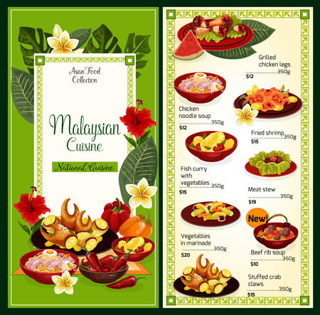 Illustration pour Malaysian cuisine food menu. Vector Asian traditional dishes of grilled chicken legs, noodles soup or fried shrimp and fish curry with vegetables, meat stew or beef rib soup and stuffed crab claws - image libre de droit
