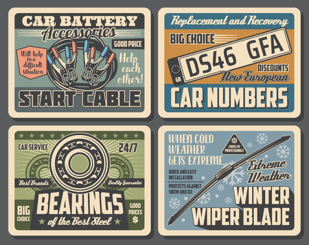 Ilustración de Car service vintage posters of garage mechanic diagnostic, automobile number plates replacement and recovery. Vector automotive spare parts shop with bearings and winter wipe blades - Imagen libre de derechos