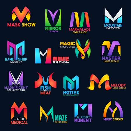 Ilustración de Corporate identity M vector icons of home repair service, movie cinema or circus show and security firm. Business tock market company, ski resort or fish and meat restaurant or medical center M signs - Imagen libre de derechos