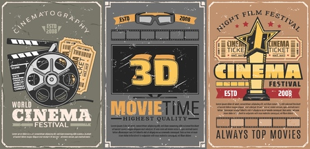 Illustration pour Movie theater or retro cinema, 3D seance and motion picture festival. Film reel and tickets with clapperboard. Vector TV set screen and glasses, gold award with star, entertainment event, movie time - image libre de droit