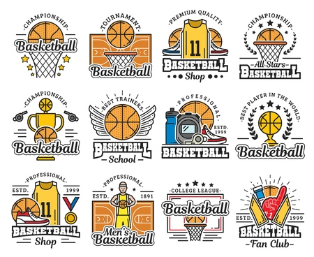 Ilustración de Basketball sport icons with ball and basket. Vector trophy cup and play field or court, uniform and sneakers, medal and whistle. Sporting school or sportswear shop, tournament and championship - Imagen libre de derechos