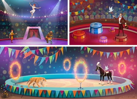 Illustration pour Circus arena, chapiteau show and handler with gymnast, magician and animals. Vector woman in hoop and man with whip, bear on bicycle and flame circles. Tiger and horse, juggling monkey and dove - image libre de droit