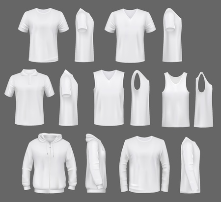 Illustration pour Male fashion, t-shirt templates with hoodie and sweatshirt, polo and singlet or sleeveless shirt. Vector basic clothes white mockups, casual garments. Men outfit henleys and tank top items, underwear - image libre de droit