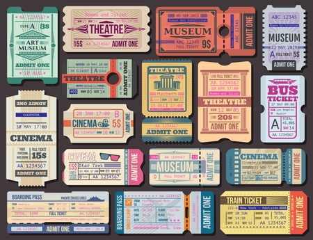 Ilustración de Cinema, museum and theatre tickets and boarding pass vector. Film show 3d seance, stage performance and exhibition paper admission. Transportation by plane and ship, bus and train, traveling - Imagen libre de derechos