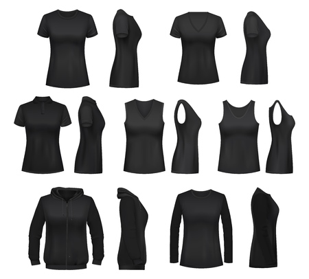 Illustrazione per Women clothes isolated mockups. T-shirt and hoodie, sweatshirt, polo and singlet, sleeveless shirt and blouse. Vector female undewear basic clothes black mockups, casual garments design - Immagini Royalty Free