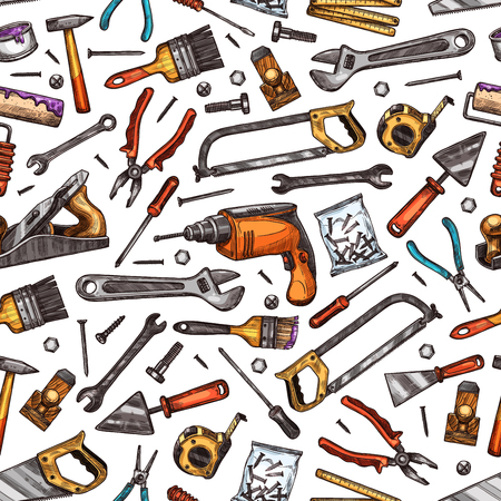 Illustrazione per Home repair, renovation and construction tools seamless pattern. Vector sketch background of handyman work tools, carpentry hammer, woodwork plane grinder or painting brush or drill with saw - Immagini Royalty Free