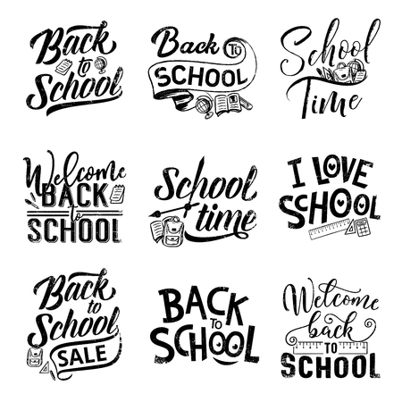 Ilustración de Back to school hand drawn lettering for sale offer promotion and welcoming banner design. Education student supplies of pencil, book and backpack, pen, ruler and globe with calligraphy quotes - Imagen libre de derechos
