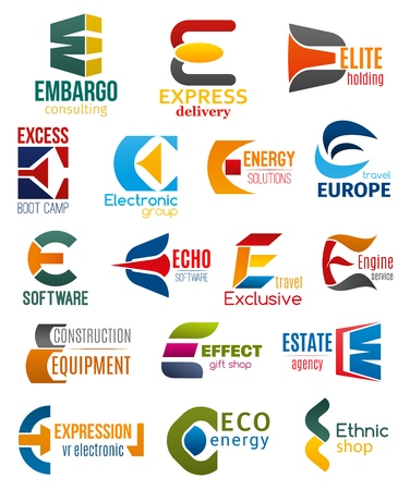 Ilustración de Corporate identity letter E business icons. Vector consulting and delivery, holding and travel, technology and energy, software and transport, building and shopping. Vector emblems, signs or symbols - Imagen libre de derechos