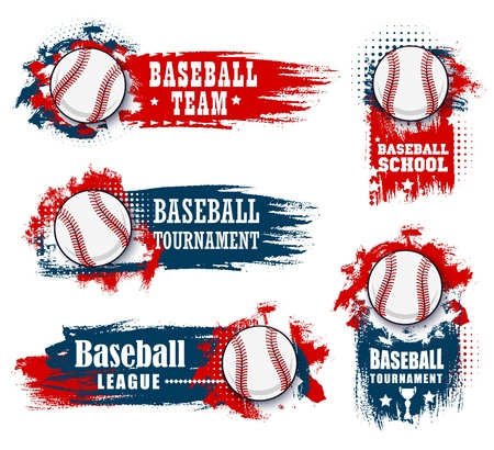 Illustration pour Baseball sport banners with halftone blue and red - image libre de droit