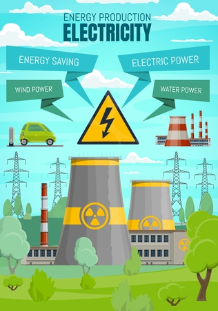Illustration for Energy industry and electricity power production plants - Royalty Free Image
