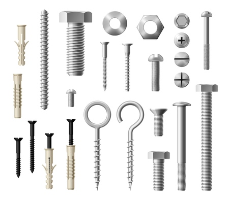 Illustration pour Construction fasteners isolated realistic set of screws, bolts and nuts. Vector metallic lag screws, bolts and hex cap nuts, eye hooks and drywalls with twinfasts and wood fasteners - image libre de droit