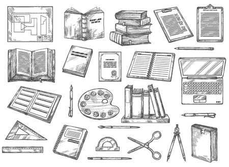 Illustration pour Books and stationery sketches, education and knowledge. - image libre de droit