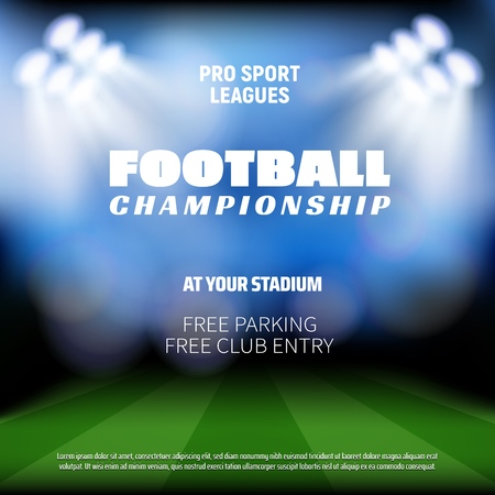 Ilustración de Football match preview background, sport broadcast TV background. Vector football or soccer stadium arena with projection lights in defocused blur - Imagen libre de derechos