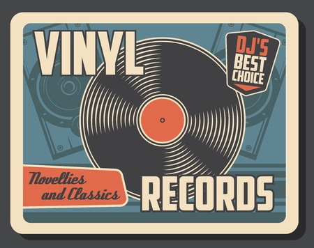Photo for Vinyl record disk vintage poster. - Royalty Free Image