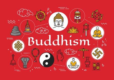 Illustration for Buddhism religious culture and Zen meditation symbols. - Royalty Free Image
