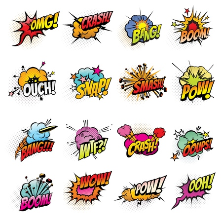 Ilustración de Comics speech bubbles vector design. Boom and bang sound effects, pow, crash and smash explosion clouds, oops, ouch and wtf exclamations, omg and wow expressions with halftone lightnings and stars - Imagen libre de derechos