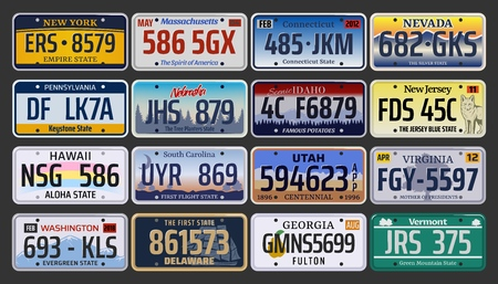Ilustración de Car numbers or vehicle license plates vector design. Metal or plastic registration plates for identification of auto, trucks and motorcycles in USA states, american California, Hawaii and Michigan - Imagen libre de derechos