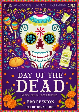 Illustration pour Dia de los Muertos Mexican holiday greetings and Day of Dead celebration symbols. Vector Dia de los Muertos traditional calavera skull with floral pattern, tequila with maracas and marigold flowers - image libre de droit