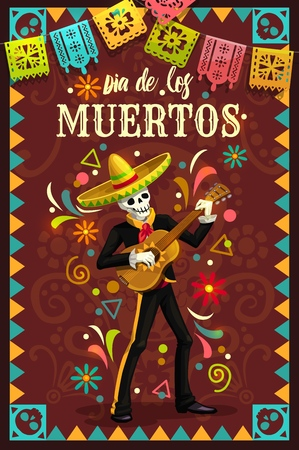 Illustration for Dia de los Muertos skeleton skull playing guitar in mexican holiday mariachi sombrero and suit. Day of the Dead religion festival vector design with Halloween zombie musician and festive flags - Royalty Free Image