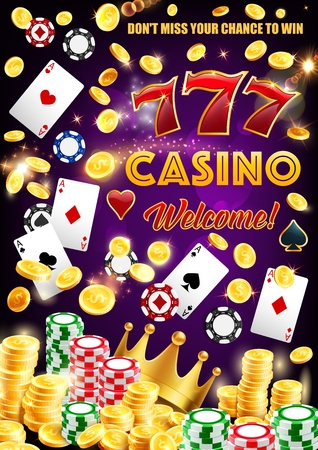 Illustrazione per Casino wheel of fortune, dice and playing cards poster. Vector gambling game roulette with jackpot sparkling golden coins splash, victory crown and poker gamble token chips - Immagini Royalty Free