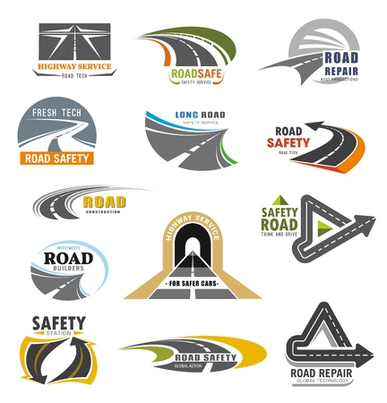 Ilustración de Roads construction company and transport communications safety service icons. Vector highway repair service, car and motor road or vehicle tunnels building global construction alliance - Imagen libre de derechos