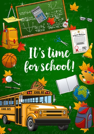 Illustration pour Time to school lettering, chalkboard with formulas and graphs. Vector yellow bus, backpacks and open textbook. Graduation diploma and basketball ball, teacher glasses, first lesson bell, calculator - image libre de droit