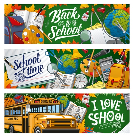 Illustration pour I love school, welcome back to school to start studying. Vector means of education, stationery items and transport. Yellow bus, Geography and Art, Maths and Astronomy subjects, lessons supplies - image libre de droit