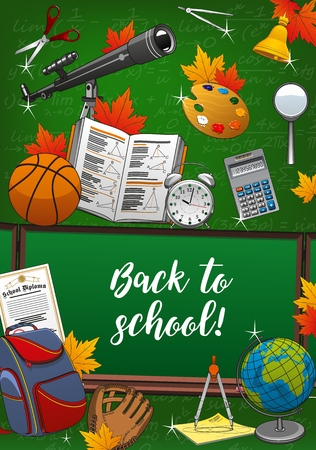 Illustration pour Back to school lettering and means of education on invitation to start new studying year. Vector green backdrop with formulas and spyglass, scissors and geometry textbook. Blackboard and backpack - image libre de droit
