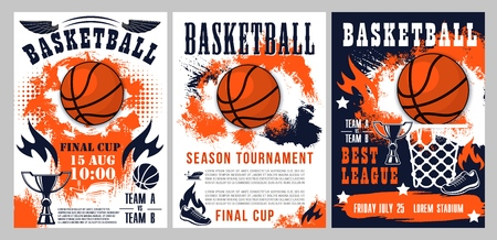 Ilustración de Basketball tournament, sport league cup championship posters. Vector basketball ball goal in basket, streetball player shoe and fire flame with victory stars on halftone orange and blue background - Imagen libre de derechos