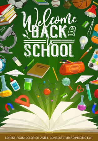 Illustration pour Welcome back to school grunge calligraphy and stationery tools. Vector microscope and glue, light and lamp, chemical and physics flasks, compass divider and magnet. Pencil case, watercolor paintings - image libre de droit