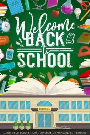 Illustration for Welcome back to school vector design with book and student supplies on classroom blackboard. School, notebook and alarm clock, pencil, scissors and microscope, ball, ruler and glue, balls and pen - Royalty Free Image