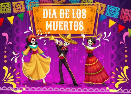 Illustration for Dia de los Muertos skeletons and Catrina dancing on mexican holiday fiesta party in sombrero, suit and dress. Day of the Dead festival and Latin American religion carnival mariachi musicians. Vector - Royalty Free Image