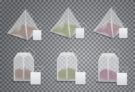 Ilustración de Tea bags 3d realistic mockup templates set. Vector isolated triangle pyramids and square teabags with blank label tag on thread, English breakfast, Indian Ceylon and Chinese green tea product package - Imagen libre de derechos