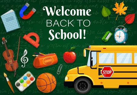 Illustration for Welcome back to school, 1st September time to start lessons. Vector green chalkboard with formulas, bus transport and stationery items. Clock and leaves, basketball and violin, music note, protractor - Royalty Free Image