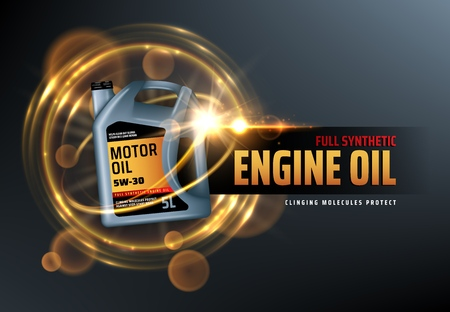 Ilustración de Canister of engine motor oil, full synthetic clinging molecules protection. Vector vehicle engine lubricant oil change with blurred golden bubbles. Promotion and advertisement of car oils - Imagen libre de derechos