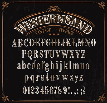 Ilustración de Western font letters. Vector vintage typeface in retro vignette frame. English ABC, uppercase and lowercase alphabet, numbers and punctuation marks, signs, special symbols. Wild west letters design - Imagen libre de derechos