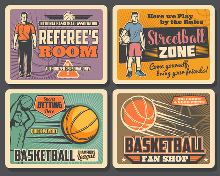 Ilustración de Basketball champions league tournament, streetball sport club championship vintage posters. Vector basketball player with ball goal in basket, referee whistle and sport bets payouts - Imagen libre de derechos