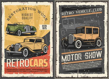 Illustration pour Vintage old cars show, rare vehicles motor club and retro auto restoration works grunge posters. Vector rarity automobile and collector transport diagnostic and mechanic repair garage station - image libre de droit