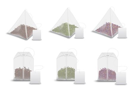 Ilustración de Tea bag pyramids with labels, realistic 3D mockup templates. Vector isolated teabags, pyramids and rectangles with black and green tea leaf, fruit of floral brew bags with blank tags - Imagen libre de derechos