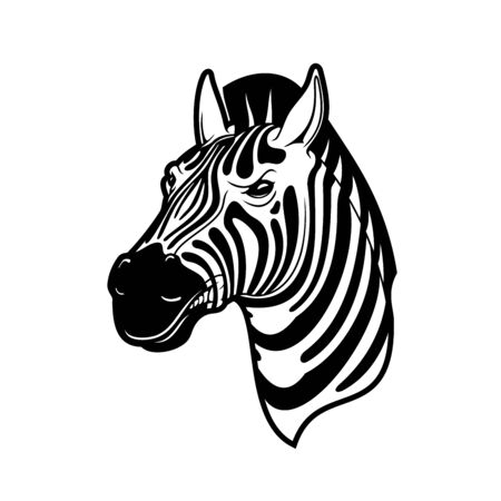 Illustration pour Zebra animal icon of African safari, zoo and hunting sport vector design. Head of wild horse or equid with black and white stripes, angry face and mohawk crest mane - image libre de droit