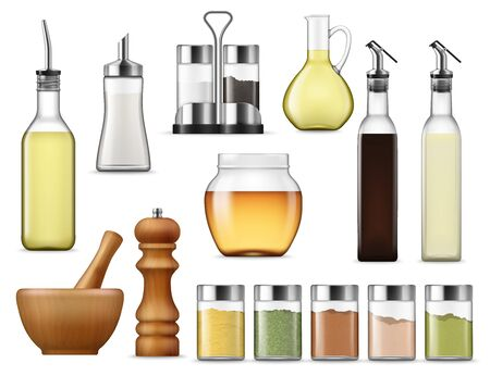 Ilustración de Salt and paper containers, glass jars with herb spices, vinegar pack isolated. Vector glass bottle of honey, seasoning racks and cooking oil. Sugar dispenser and oil carafe, salad dressing and sauces - Imagen libre de derechos
