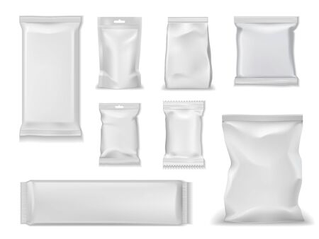 Illustration for Bag packs, white foil doypack and sachet pouch template mockups. Vector isolated realistic 3D blank glossy doy pack, chip snacks, candy pack with zipper, wet towels and cosmetic products package - Royalty Free Image