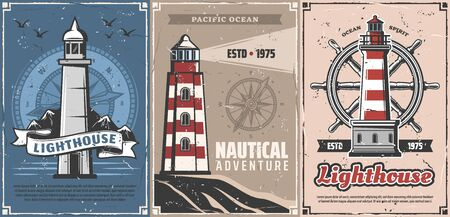 Illustration pour Lighthouses with vintage nautical compasses and sea ship helm vector design. Navigation towers of marine beacons and steering wheels of sailing boat retro posters. Nautical adventure, travel themes - image libre de droit