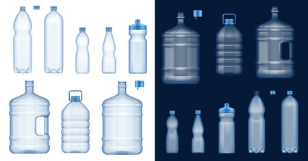 Ilustración de Plastic water bottles 3d vector mockups. Empty drink containers of clear mineral, carbonated and soft beverages, gallon cooler jugs, sport packs and liter packages with blue lids and handles - Imagen libre de derechos