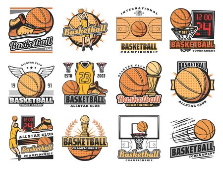 Ilustración de Basketball club badges, sport league and team championship icons. Vector basketball tournament, streetball league cup, training shoes and ball with wings, goal scoreboard and player vest - Imagen libre de derechos