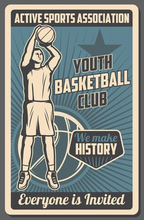 Ilustración de Basketball club vintage poster, youth school and college team league streetball tournament and training. Vector basketball active sport association of trainers and professional ball players - Imagen libre de derechos