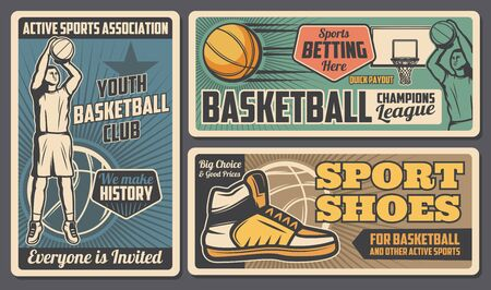 Ilustración de Basketball youth club, league and betting payout. Vector retro style team streetball player, basketball sport equipment and footwear shoes store, tournament and training - Imagen libre de derechos