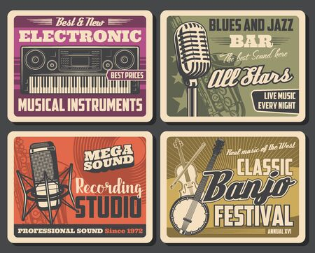 Ilustración de Music recording studio and musical instruments, equipment. Vector electronic synthesizer, professional sound and banjo festival. Microphone and melody record, album production, sound equalizer - Imagen libre de derechos